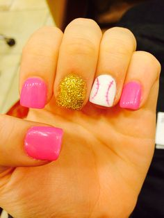 Baseball Nail Art but instead i would do red where the pink is, blue glitter where the gold is