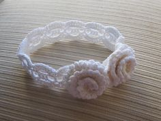 Ravelry: White Crochet Headband with Two Roses pattern by Elena Chen