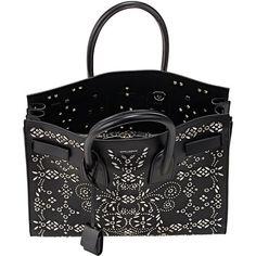 Saint Laurent Sac De Jour ($3,950) ❤ liked on Polyvore featuring bags, handbags, embellished handbags, black studded bag, yves saint laurent purses, decorating bags and black bag