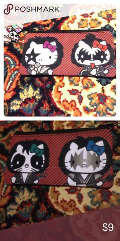 Kiss hello kitty pencil pouch clutch Never used. Came with seam line showing on one side. Limited edition Kiss Bags Clutches & Wristlets