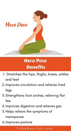 Hero pose (Virasana) is a great stretch for the quads and ankles as well as an excellent pose for meditation. If you are a beginner at yoga, Click the link to see some beginner's yoga poses. Easy Workouts For Beginners, Yoga For Beginners, How To Start Yoga, Learn Yoga, Hero Pose Yoga, Yoga Positions For Beginners, Yoga Information, Yoga For Balance, Yoga Routine
