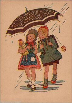 163.349 Mädchen, Schirm, Regen, Puppe, Künstler-AK Veronika Fritsche