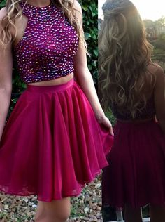 Stylish Two Piece prom dresses High Neck Short Red Prom Dress Beading with Pockets 2017 homecoming dress, two piece short homecoming dress, hot pink homecoming dress, dancing dress