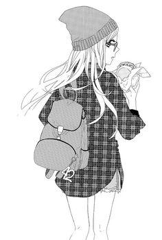 a beanie, a hamburger, long hair, long shirts... and anime... this is life  perfect ♥