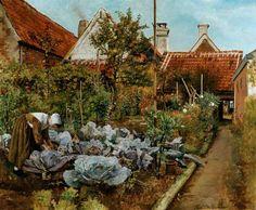 A Flemish Kitchen Garden  La coupeuse de choux, c.1864 - Henri de Braekeleer 1840–1888 Belgian