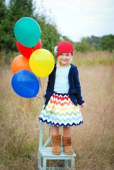 Extra Full Rainbow Chevron Twirl Skirt for the Girls