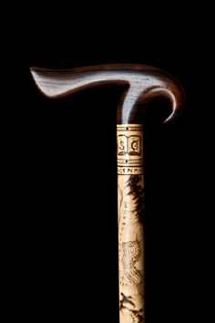 Handmade Walking Cane In Steel With Wenge And Ebony Wood - Walking Sticks, Gift Idea, Wood Art Wooden Walking Canes, Wooden Walking Sticks, Walking Sticks And Canes, Raising Canes, Cane Stick, Cane Handles, Sticks And Stones, Pyrography, Wood Carving