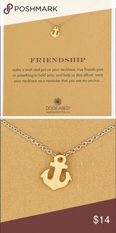 "Friendship necklace with card Card reads: ""Make a wish and put on your necklace. True friends give us something to hold onto, and help us stay afloat. Wear your necklace as a reminder that you are my anchor..."" •14k yellow gold dipped chain and pendant •18' chain •Claw clasp Dogeared Jewelry Necklaces"