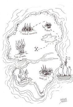Final inked drawing of the treasure map Copyright Wayne Tully.