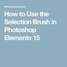 How to Use the Selection Brush in Photoshop Elements 15