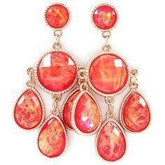 Opal Bead Dangle Earrings in Red