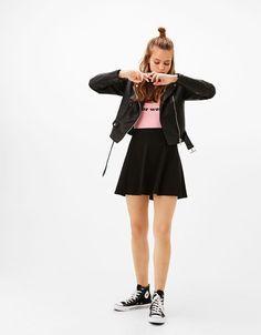 Faldas de mujer - Primavera Verano 2017 | Bershka Teenage Outfits, Kids Outfits Girls, Cute Girl Outfits, Girls Fashion Clothes, Tween Fashion, Teen Fashion Outfits, Cute Casual Outfits, Girl Fashion, Forever 21 Outfits