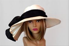 Kentucky Derby hat, Sonya, beautiful straw hat with draped pleating on the side, womens, white with black silk sash