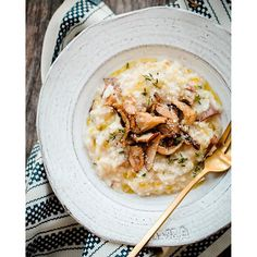 Risotto With Oyster Mushrooms And Parmesan Cheese. Get this and 50+ more Mushrooms recipes at https://feedfeed.info/mushrooms