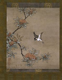 Titmouse with Pomegranate Flowers Artist: Kano Yukinobu (Japanese, ca. 1513–1575) Period: Muromachi period (1392–1573) Date: mid-16th century