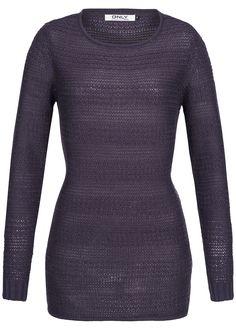 ONLY Longform Strickpullover ELISE 15089336 Rundhals purple velvet kaufen | 77Store