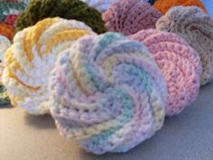 "Please see this revised post about Spiral Scrubbies.  Had to ""clarify"" it!  Also added more links to others patterns  Would be great in a spa basket."