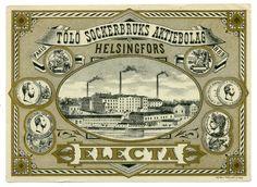Electa, Töölön Sokeritehdas Osakeyhtiö #etiketit #label Vintage World Maps, Label, Paris, Montmartre Paris