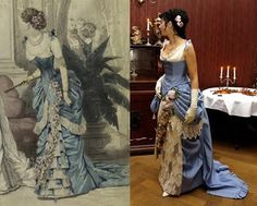 Victorian and Edwardian fashion plates with Reproduction Gown