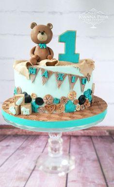 Vintage Teddy Bear :-) by Joanna Pyda Cake Studio - Birthday Cake Blue Ideen Baby Boy Birthday Cake, Baby Birthday Cakes, Teddy Bear Birthday Cake, Gateau Baby Shower, Baby Shower Cakes, Baby Cakes, Fondant Cakes, Cupcake Cakes, Teddy Bear Cakes