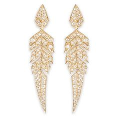 Stephen Webster 'Magnipheasant' diamond 18k rose gold feather drop... ($7,825) ❤ liked on Polyvore featuring jewelry, earrings, accessories, brincos, metallic, 18k diamond earrings, pink gold earrings, 18 karat gold earrings, 18k rose gold jewelry and hinged earrings
