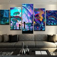 Rick And Morty Psychedelic Five Pieces Wall Art for Home Decoration. High Quality Painting for all the Rick And Morty Lovers