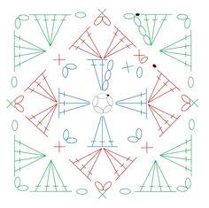 四角モチーフ 8 【かぎ針編み】How to crochet granny square https://youtu.be/c86FcAgk8Vs 編み図と字幕で解説しています。 四角い形のモチーフです。 中心のくさり編み5目の輪の作り目から、長編み、細編み、くさり編み、引き抜き編みで編みます。