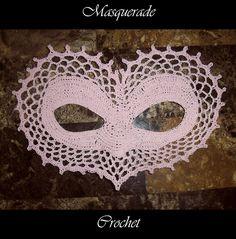 Ravelry: I Heart You Masquerade Mask pattern by Farrah for 365 Crochet Halloween Ball, Halloween Face Mask, Cotton Crochet, Thread Crochet, Half Double Crochet, Single Crochet, Cat Masquerade Mask, Crochet Costumes, Crochet Mask