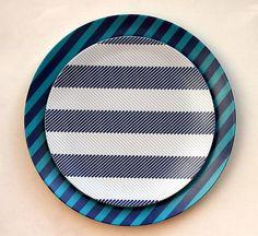 striped plates.