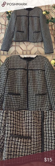 "Black & white jacket with zip,faux leather lining 20 1/2"" in length and 18"" bust, this classic black and white tweed jacket has a zip in front with 2 pockets. It's embellished with faux leather lining in front and back. Sizes 2-6 can wear it comfortably. Sandro Jackets & Coats"