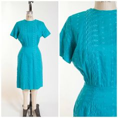 50s Vintage Dress Teal Cotton Embroidered Vintage 1950s Sheath Size Medium by stutterinmama on Etsy