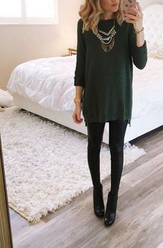 Green and black sweater dress with leggings, black leggings outfit fall, black pants outfit Legging Outfits, Black Leggings Outfit Fall, Leggins Casual, Sweater Dress Outfit, Dresses With Leggings, Black Pants Outfit Dressy, Black Booties Outfit, Sweater Dress With Leggings, Green Sweater Dress