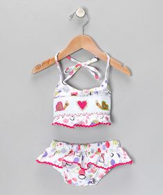 Look what I found on #zulily! White & Pink Snail Bikini - Toddler & Girls #zulilyfinds
