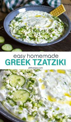 Looking for a fresh taste this BBQ season? This homemade Greek tzatziki sauce is absolutely delicious and super easy to make. With just a few ingredients and in about 10 minutes you have a tasty appetizer that everyone loves! | allthatsjas.com | #tzatziki #cucumbersauce #Greek #dip #sauce #homemade #allthatsjas #dill #garlic #yogurt #easy #summer #BBQ #vegetarian #recipes #quick #howto #diy #eattheworld Side Recipes, Greek Recipes, New Recipes, Vegan Recipes, Cooking Recipes, Favorite Recipes, Greek Appetizers, Yummy Appetizers, Bbq Vegetarian