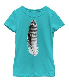 Love this Tahiti Blue Feather Tee - Toddler & Girls on #zulily! #zulilyfinds