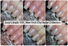 """Lucy's Stash New York City Ballet Collection by OPI  I have """"My Pointe Exactly"""" - grey sheer jelly and  """"Pirouette My Whistle"""" - fine silver glitter mixed with larger silver hexagonal glitter in a clear base.  ♥♥♥ this look!"""