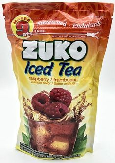 Buy Iced Tea Raspberry / Frambuesa flavor by ZUKO at MexGrocer.com Peach Drinks, Fruit Drinks, Fruit Juice, Raspberry Drink, Lemon Drink, Zuko, Mexican Food Recipes, Snack Recipes, Snacks