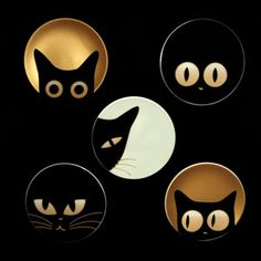 Black kitty cat eyes watch your Halloween preparations