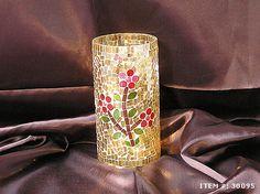 www.hindicraft.com  Golden Mosaic Flower Pot Totally  Handmade work on Glass