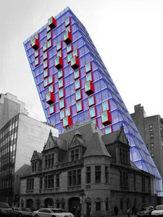 Also by LOT-EK is this fantastic concept for a tower at 87 Lafayette Street in New York City. The idea is for a 19-story artists' loft building, built by stacking containers, with staircases at the north and south ends. The roof of the slanted tower would sport solar panels. The building in front of the bold new design is an historic New York City firehouse, perhaps serving as a visual tie to the past.  - GoodHousekeeping.com