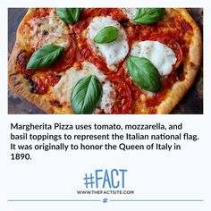 Margherita Pizza uses tomato, mozzarella, and basil toppings to represent the Italian national flag. It was originally to honor the Queen of Italy in Crazy Facts, Wtf Fun Facts, Funny Facts, Food Prep, Meal Prep, Real Memes, Tomato Mozzarella, Fact Of The Day, The More You Know