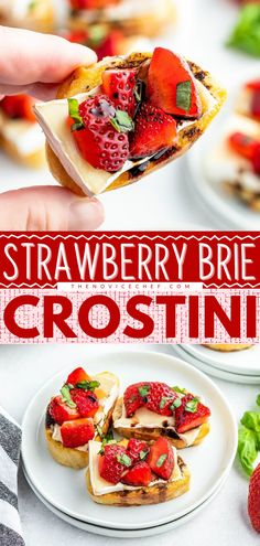 A quick and easy appetizer recipe perfect for Memorial day and the 4th of July! Who could say no to toasted baguette slices topped with creamy brie cheese, sweet strawberries, fresh basil, and balsamic vinegar? Save this easy party food! Quick And Easy Appetizers, Easy Appetizer Recipes, Easy Snacks, Yummy Snacks, Quick Easy Meals, Easy Recipes, Easy Family Meals, Family Recipes, Easy Party Food
