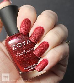 Zoya Pixie Dust in Chyna (dazzling, cool red) [2 coats]