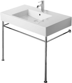 Vero | Duravit I like the simple lines of the legs and the blocky look of the sink, and especially like the wide edges. Not sure what the dimensions of our space are.