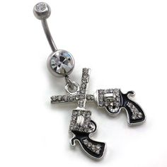 http://cheune.com/store Western Cowgirl Dual Revolver Pistol Gun Dangle Belly Button Navel Rings High Polish Silver Tone Body Fashion Jewelry 14 Gauge