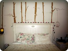 Birch Tree Wall Decals - You can get your initials carved in them too!