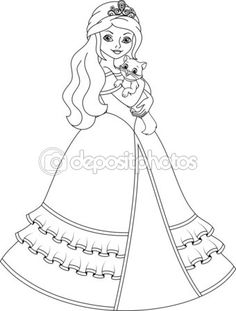 Página para colorir princesa — Ilustração de Stock #58000463