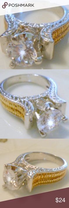 1ct. CZ Filigree Design Solitaire Ring Gorgeous Antiqued Filigree Design 1ct. Solitaire round CZ 3 prongs White & Yellow Gold plated Jewelry Rings