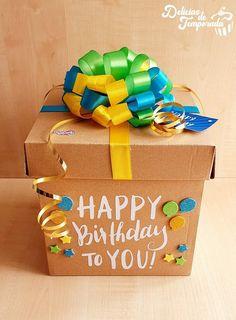 Handmade Birthday Gifts, Birthday Box, Friend Birthday Gifts, Creative Birthday Ideas, Creative Box, Diy Gift Box, Diy Gifts, 50th Birthday Decorations, Unicorn Themed Birthday