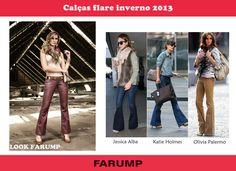 As calças com modelagem flare vão bombar no inverno 2013. Vem ver o modelo da Farump e as apostas das famosas!